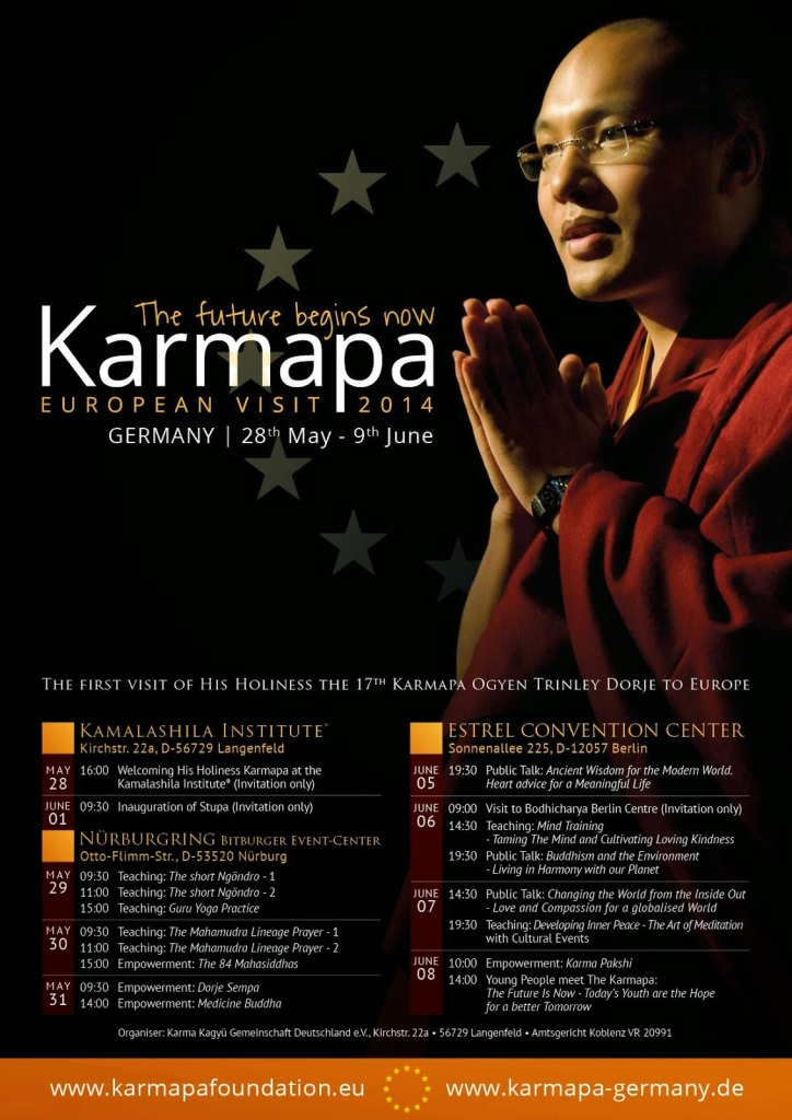Karmapa European Visit 2014 Schedule