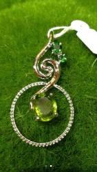 White Gold plated Silver Crystal Pendent ∣ 純銀鍍白金天然晶石吊墜
