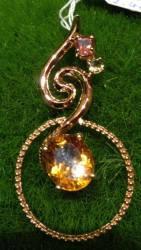 Rose Gold plated Silver Crystal Pendent ∣ 純銀鍍玫瑰金天然晶石吊墜