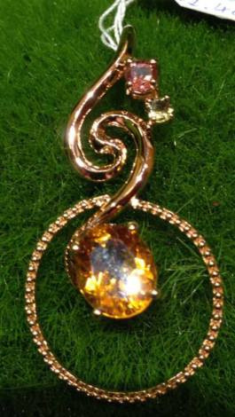 Rose Gold plated Silver Crystal Pendent ∣ 純銀鍍玫瑰金天然晶石吊墜